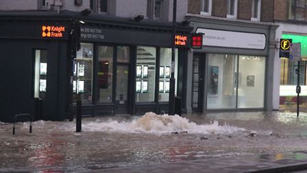 Devastation caused by the flooding in Upper Street this morning.