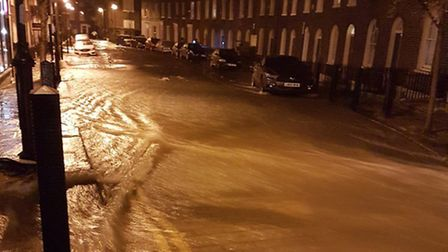 A burst water main has caused severe flooding in Upper Street, Camden Passage and Colebrooke Row. Pi