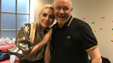 Lady Gaga dropped by at the Albert Kennedy Trust in Shepherdess Place. She is pictured with trust ch