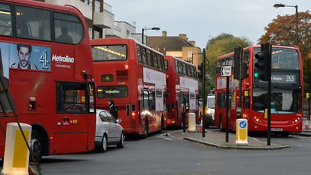 Buses on Tufnell Park Road (Picture: Polly Hancock)