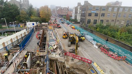 The work on the A1 near the Upper Holloway bridge. Picture: TfL