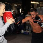 James DeGale and trainer Jim McDonnell during the work out at Stonebridge ABC, London.