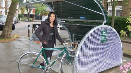 Cllr Claudia Webbe at bikehangar in Holloway (Picture: Islington Council)