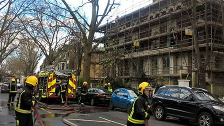 Fire crews at the scene in Grosvenor Avenue, Highbury, this morning. Picture: London Fire Brigade