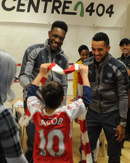Arsenal players Danny Welbeck and Theo Walcott at Centre 404 in Holloway last month. It is one of si