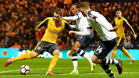 Aaron Ramsey (left) scores Arsenal's equaliser in their 2-1 win at Preston North End