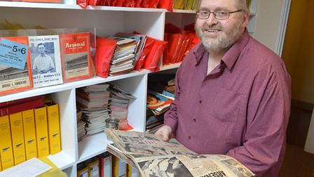 Gunners historian Paul Matz uses his cuttings to compile the Arsenal History Programme. Picture: Pol