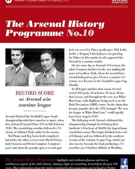 The 10th Arsenal History Programme (v Crystal Palace). Picture: Paul Matz