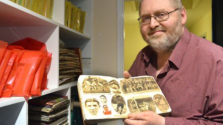 Gunners historian Paul Matz uses his cuttings, such as this 1930s scrapbook, to compile the Arsenal