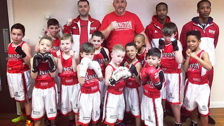 Islington BC's youngsters with their coaches at the Lion ABC sparring session