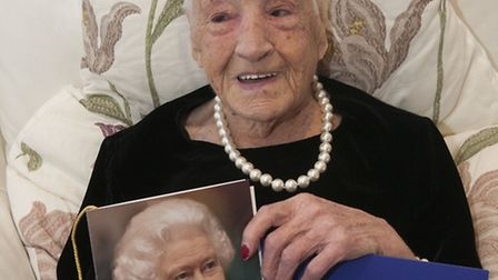 Doris with her telegram from the Queen. Picture: Nigel Sutton