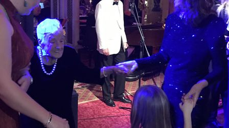Doris Smart dancing at the Ritz to celebrate her 100th birthday on Friday. Picture: Family of Doris