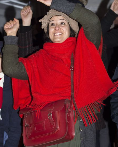 Dancing to a Klezmer band at the sixth annual Menorah lighting festival in Islington Green last nigh
