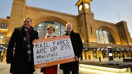 Islington South and Finsbury MP Emily Thornberry protests against rail fare increases outside King's