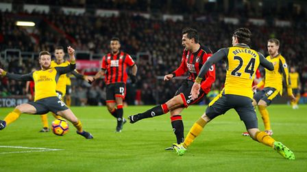 AFC Bournemouth's Charlie Daniels scores his side's first goal of the game during the Premier League