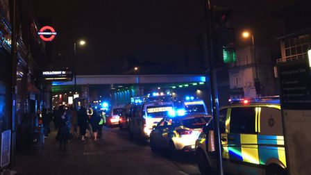 Dozens of police officers were seen at the station after the fight broke out. Picture: Joseph Hesket