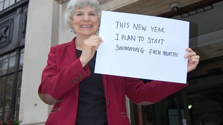 Cllr Janet Burgess with her New Year health pledge for 2017