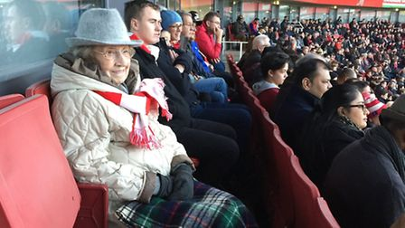 Phyllis Mallin at the game on Boxing Day