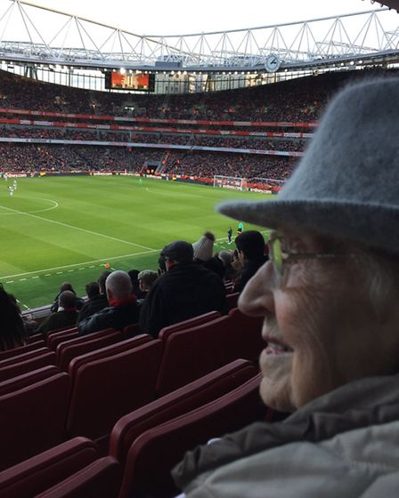 Phyllis Mallin watches on as Arsenal struggle to a 1-0 win