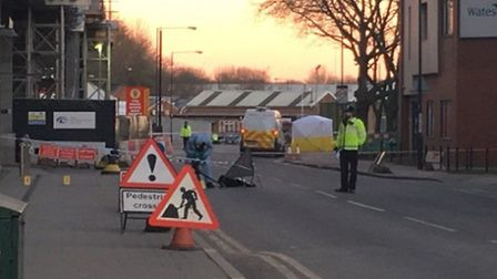 Forensics officers at the scene of the stabbing (Pic: Sam Corbishley)