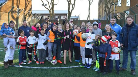 Surrounded by residents, children and sports coaches, deputy mayor Cllr Una OHalloran officially op