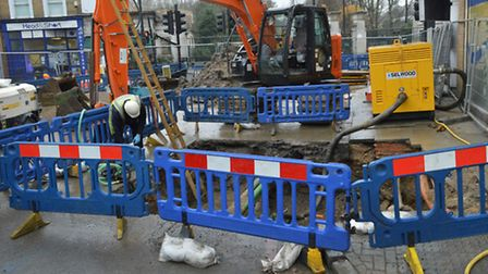 A pipewas leaking for six days in Stoke Newington last month before bursting and causing chaos. Pict