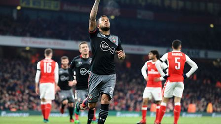 Ryan Bertrand celebrates his goal in Southampton's League Cup victory against Arsenal earlier in the