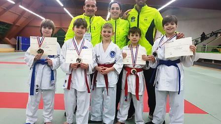 Veras Academy at the Val-de-Marne Karate Combat League Championship in France. Back row, left to rig