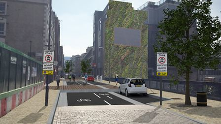 'Pedestrian zone' signs shown in computer-generated images of Paul Street, Shoreditch. Picture: Tran