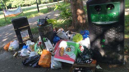 Rubbish in Highbury Fields after a summer day. Picture: Caroline Russell