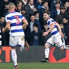 Queens Park Rangers' Ryan Manning (right) celebrates scoring his first-ever goal for the club agains