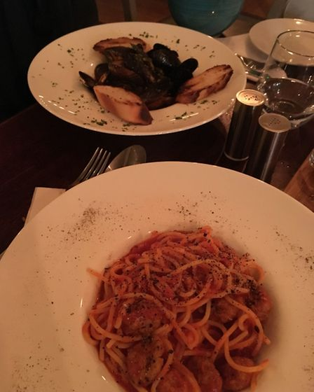 La Taberna mains: mussels and spaghetti meatballs. Picture: James Morris