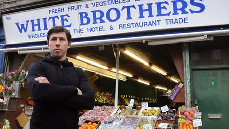 John Mackie in front of his greengrocer's shop in Blackstock Road. Picture: Dieter Perry