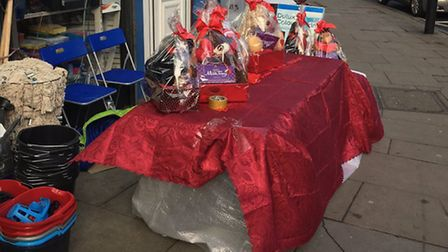 A stall was set up in Blackstock Road selling Valentine's Day presents.