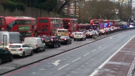 The traffic was backlogged in Archway Road after the crash. Picture: Chris Sparks