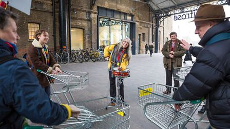 Dame Evelyn Glennie performing outside Waitrose in the West Handyside Canopy at King's Cross. Pictur