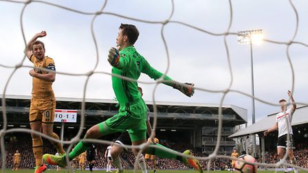 Tottenham Hotspur's Harry Kane (scores his side's second goal against Fulham in the FA Cup (pic Nick