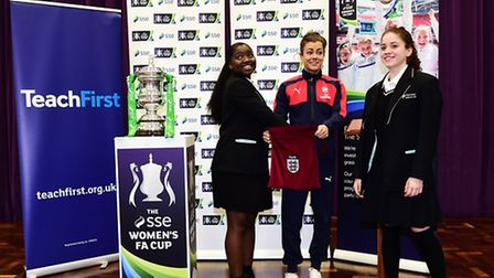 Jessica Mendes and Juliana Guerra of Hornsey School for Girls made the draw for the fifth round of t