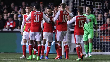 Arsenal's Theo Walcott celebrates scoring his side's second goal against Sutton United (pic Andrew M