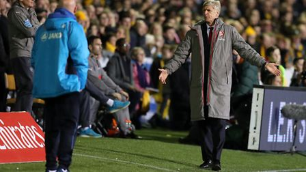 Arsenal manager Arsene Wenger gestures during the FA Cup tie at Sutton (pic Andrew Matthews/PA)