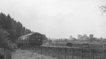 A Tube train being towed on the main line in Finsbury Park in 1970. This type of train was built in