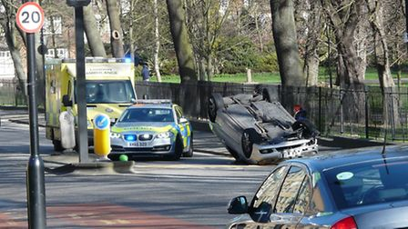 The car flipped just after 9.30am. Picture: Chris Lee