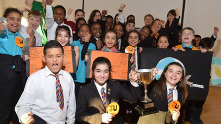 The winning team� celebrate coming first at the end of New North Academy's business and enterprise w