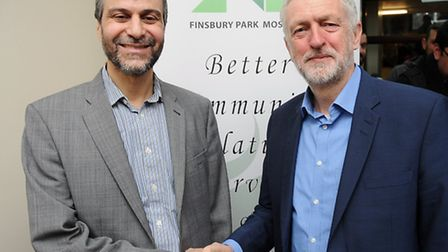 Chairman Mohammed Kozbar and Islington North MP Jeremy Corbyn at Finsbury Park Mosque's open day. Pi