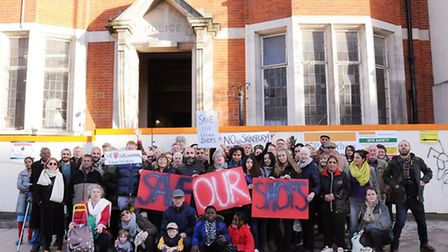 Neighbours protest the latest Sainsbury's application for the old Highbury Vale police station in Bl