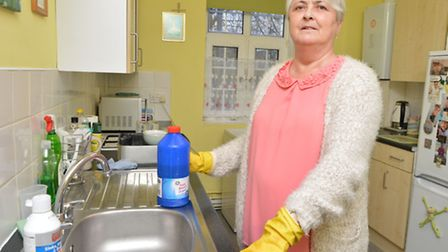 'Gurgling' raw sewage has been shooting up Sue Kelly's sink for the past two years. Picture: Polly H