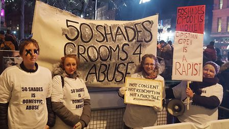 Protesters during the Fifty Shades Darker premiere in Leicester Square on Thursday. Picture: Catheri