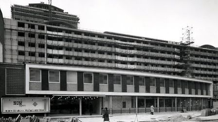 Finsbury Library in 1967, with Patrick Coman House under construction behind it. Picture: Islington