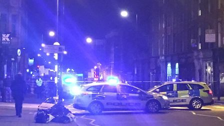 The scene in Upper Street after the double stabbing. Picture: N.Sky