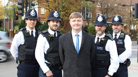 Cllr Tom Miller (centre) hailed the scheme and pledged to crackdown on crime. (Photo: Brent Council)